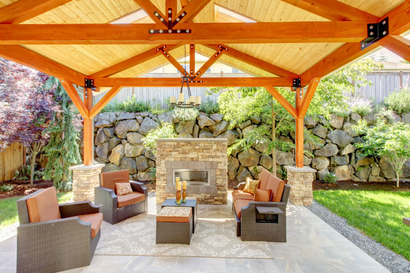Marvelous Comfortable Pavilion For Outdoor With Fabricated Vinyl Flooring An Outdoor  Fireplace With Natural Stone Looks