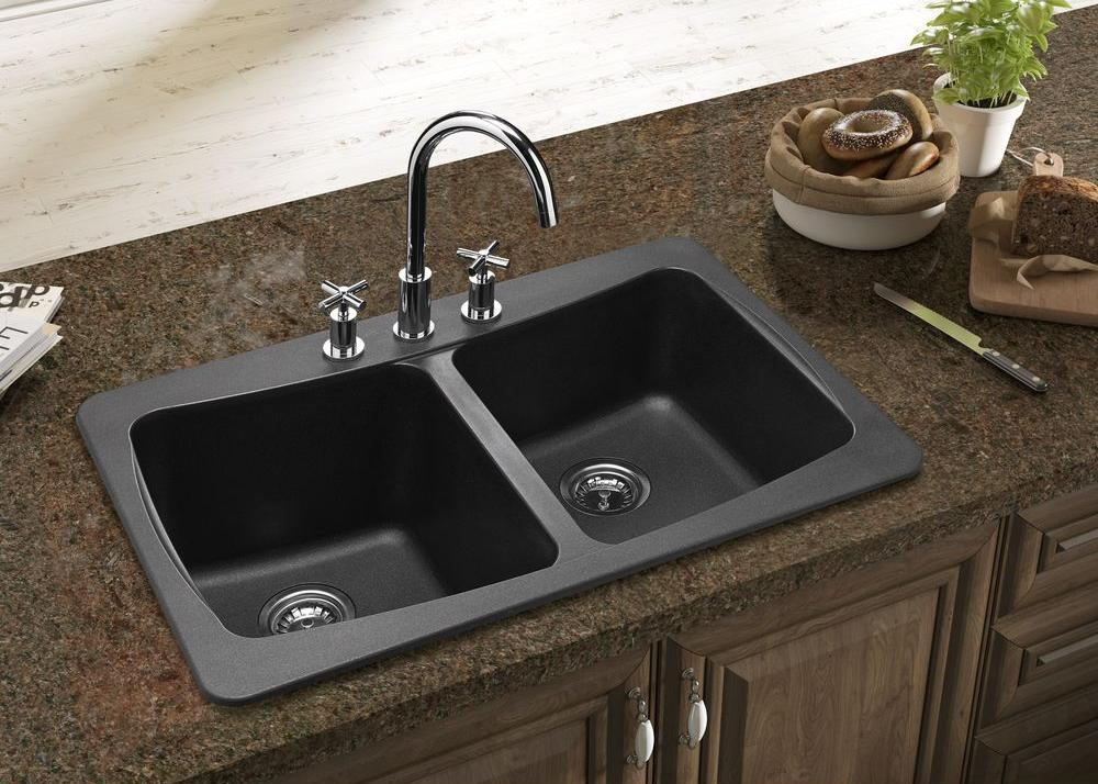 Kitchen Double Sinks What is best kitchen sink material homesfeed composite granite kitchen double sinks with stainless steel faucet and double sprayer controls dark gray marble workwithnaturefo