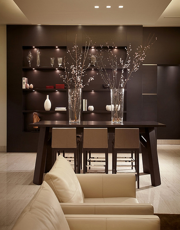 contemporary dining room design with sleek brown table and ravishing bar stool also beutiful spring vase in white laminate flooring