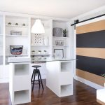contemporary home office with elegant stripes sliding door also wonderful wall mount shelving and cute glass top table with bar stool cahir in laminate flooring