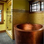 copper deep Japanese tub unit yellow brick wall system vinyl floor in grey color
