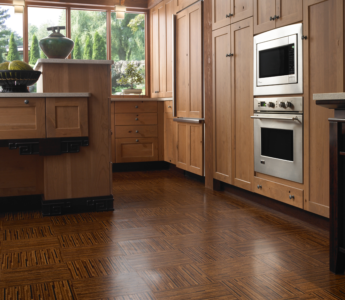 Cork Floors With Lines Prints Solid Kitchen Cabinetry Electric Kitchen  Appliance Ceramic Vase Ornament Fruits Container