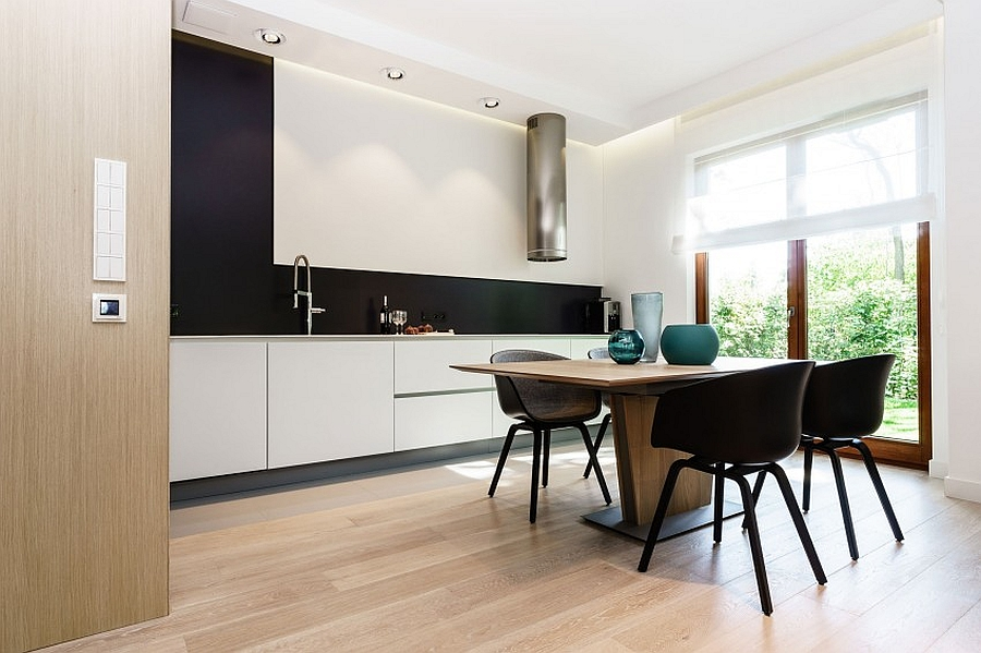 Delightful Cute Black And White Kitchen And Dining Area With Simple White Cabinet Also  Interesting Large Glass