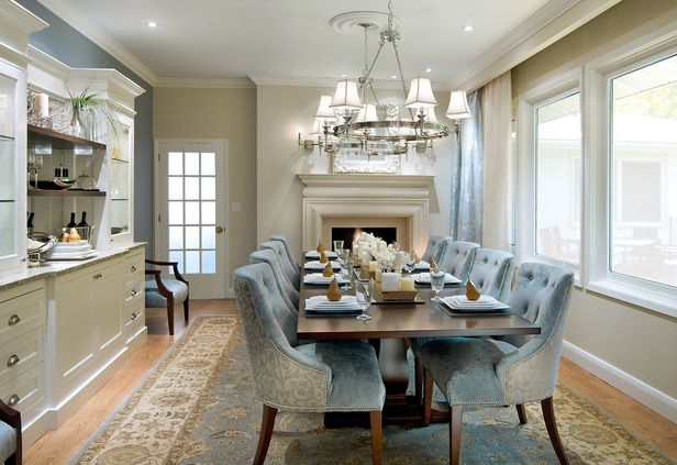 Cute Dining Room Design With Soft Blue Chairs Also Glossy Wooden Table And Wonderful Chandelier