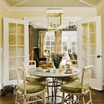 cute dining room idea with refreshing green walling also wonderful wooden ceiling with beautiful chandelier also classic dining set in hardwooden flooring