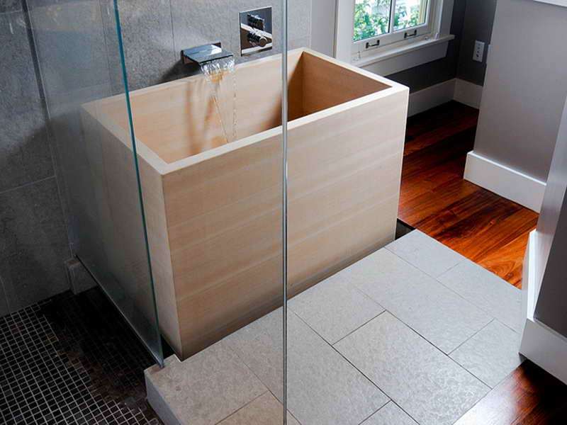 Deep wood Japanese tub in square shape frameless glass door for shower zone  small size blackJapanese Soaking Tub Small  Give the Asian Accent in Your Small  . Square Japanese Soaking Tub. Home Design Ideas