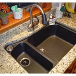 double composite granite sink with different size metal faucet with single spray control white-dominant marble counter for kitchen