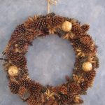 dried-pine-fruits wreath for outdoor decoration