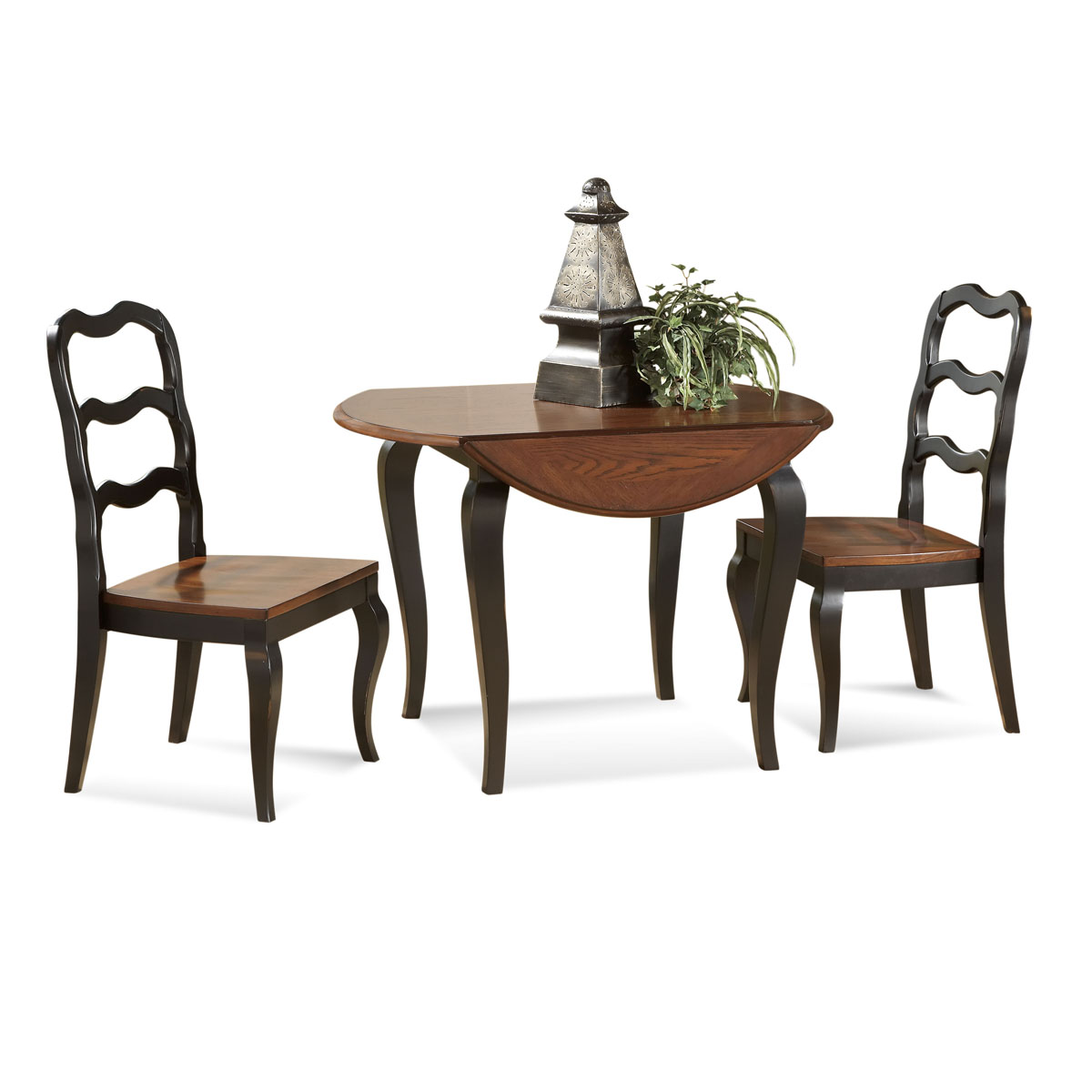 Drop Leaf Dining Table In Clic Style Two Chairs With Wood Finish Seating