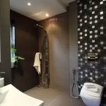 Eelegant Black Bathroom With Masculine Touch Also Energizing Green Plant With White Elgant Bidet In Concrete Flooring