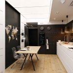 elegant black and white kithen with astonishing brick backsplash aso wonderful multiple soce with furnished wodeen tble in hardwoden flooring concept