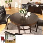 elegant black curved banquette seat unit  three black chairs set round wood black table a pot of flower ornament beuatiful tea cup and tea pot set grey rug softwood flooring