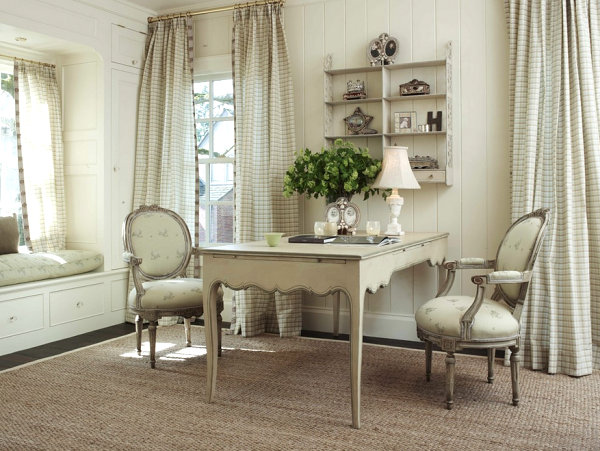 Elegant Cream French Country Interior With Timeless Dining Set Furniture  Also Frech Greem Potted Plan And