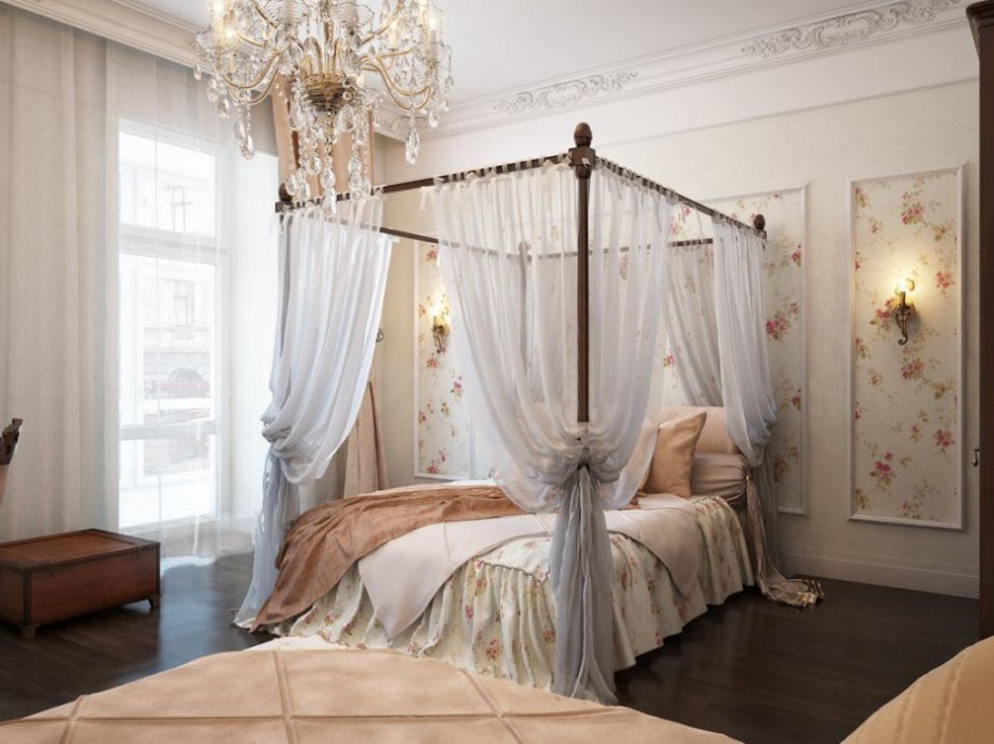 Fabulous Vintage Bedroom Decor Crystal Chandelier Canopy Bed Whi