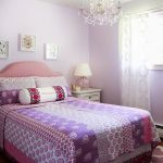 elegant feminine bedroom idea with cute purple and pink bedsheet also cute soft pruple wall decoration and ravishing creamy small drawers in hardwooden flooring concept
