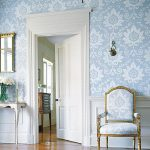 elegant french style interior with beautiful flower motif wallpaper also ravishing classic gold chairs in laminate flooring
