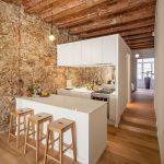 elegant kitchen room design from 19th century with ravishing wooden barstool also energizing white kitchen cabinet in hardwooden flooring concept