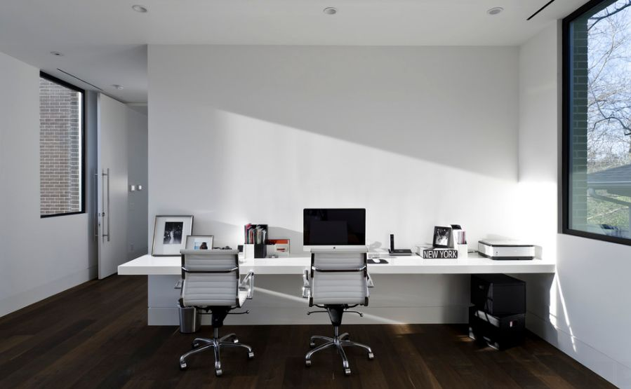 Elegant White Office Home Design With Ravishing Long White Floating Table  With Large Glass Window In