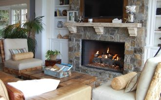 firebox with natural stone wall system oldies-style wood media desk simple  white shelves and cabinets units comfy living room furniture