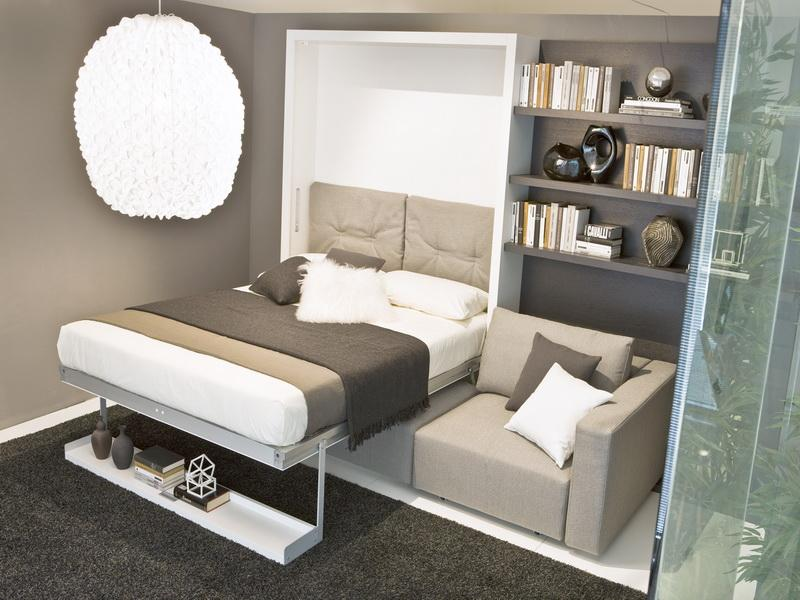 Folding Bed In Minimalist Style With Single Shelf Under The Bed Comfy Grey  Sofa With Black