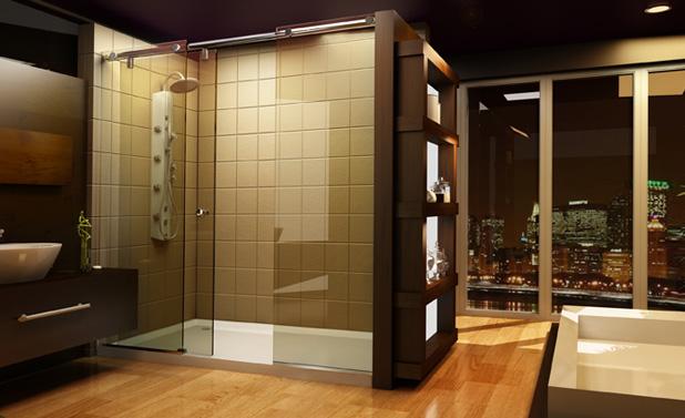 framedbig glass windows glossy wood flooring extralarge full glass shower door