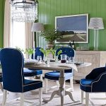 fresh green wall with blue navy dining chairs also interesting hanging crystal chandelier with gorogeus large carpeting for minimalist house design