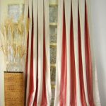 full glossy  red-white pleat curtain style rattan vase ornament with ornamental plant
