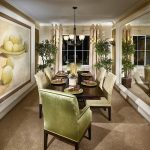 fun idea of dining room with elegant lime green chairs also ravishing wooden table and astonishing potted plant on the corder with elegant cream hues in large carpeting style