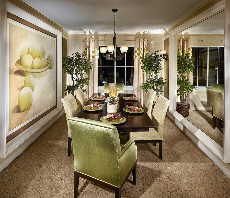 Fun Idea Of Dining Room With Elegant Lime Green Chairs Also Ravishing Wooden Table And Astonishing