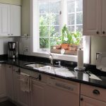 garden window in kitchen vivid and fresh decorative plants black marble kitchen countertop top cabinetry under kitchen cabinetry a white decorative plate juicer