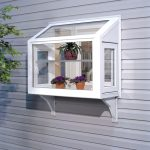 garden window with all sides glass platforms vivid flower ornaments with beautiful pots