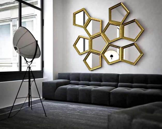 Gold Frame Ornamental Mirrors In Pentagon Shape Unique Spot Lighting Comfy  Black Sofa Part 21