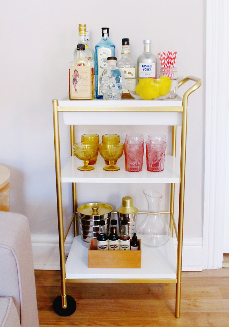 Golden Bar Cart Ikea Cly With White
