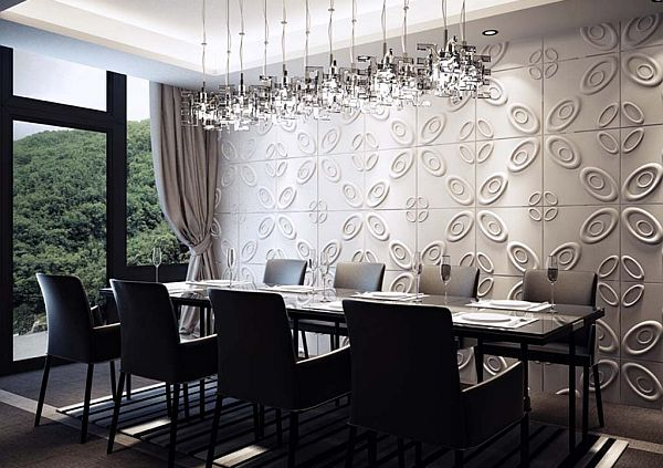 gorgeous black and white dinng room with cute decorative wall pattern also magnificent chandhelier with glossy top dining table with large glass window in large carpeting idea