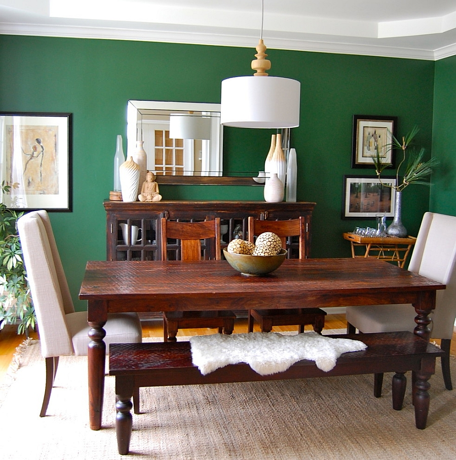 Gorgeous Dining Room Design With Classic Hardwooden Table Also Ravishing Dark Green Wall Decoration Feat Ethnic