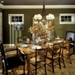 gorgeous dining room idea with dark green wall color decoration also magnivicent wooden dining set with gorgeous turkey rug with dark gray ceiling