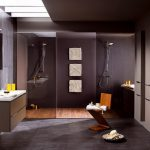 gorgeous masculine bathroom style with ravishing dark brown accent also unqie geomatric wooden chair and floating shelve with double shower room in concrete flooring