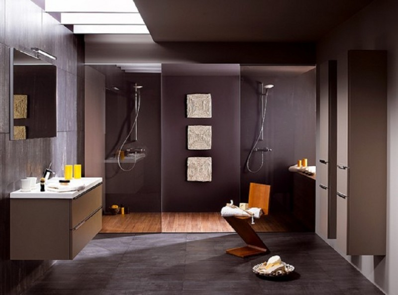 Gorgeous Masculine Bathroom Style With Ravishing Dark Brown Accent Also Unqie Geomatric Wooden Chair And Floating
