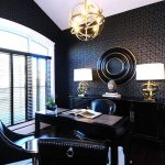 gorgeous reading room design with wonderful black accent also ravishing pattern of wallpaper with unique pendant lampt and cozy leather chairs in laminate flooring