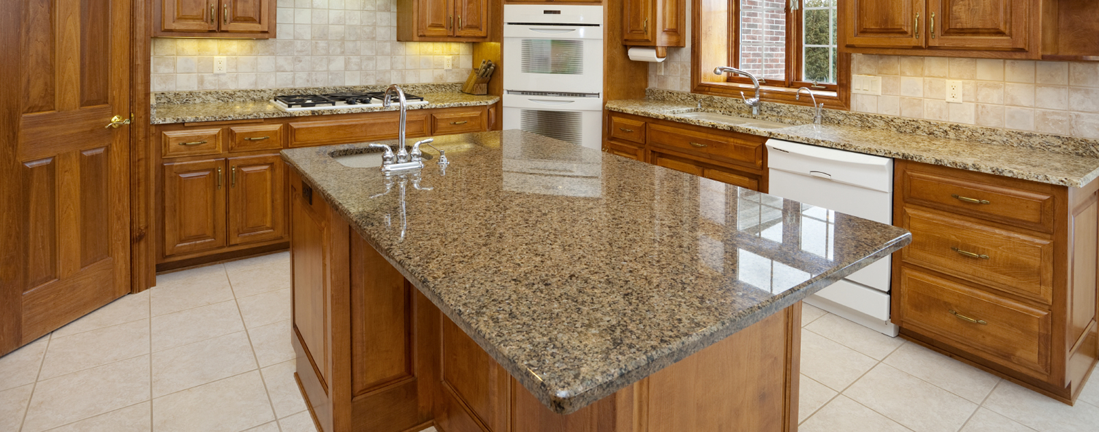 Granite Finish Countertop With Storage Luxurious Kitchen Set With Wood  Cabinetry White Ceramic Kitchen
