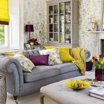 gray sofa floral wallpaper gray painted storage colorful cushions purple lamp colorful tulips bouquet elegant coffee table how to make spring smell home