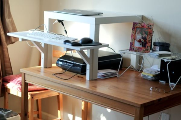 Home Made Standing Desk In White Color Netbook With Scanner A Picture Frame Wood Finishing