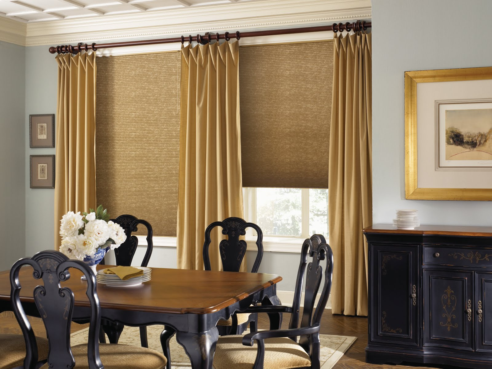 Top window treatment ideas for large windows - Honeycomb Window Shades With Gold Accent Curtains Classic Black Wood Dining Chairs With Large Wood