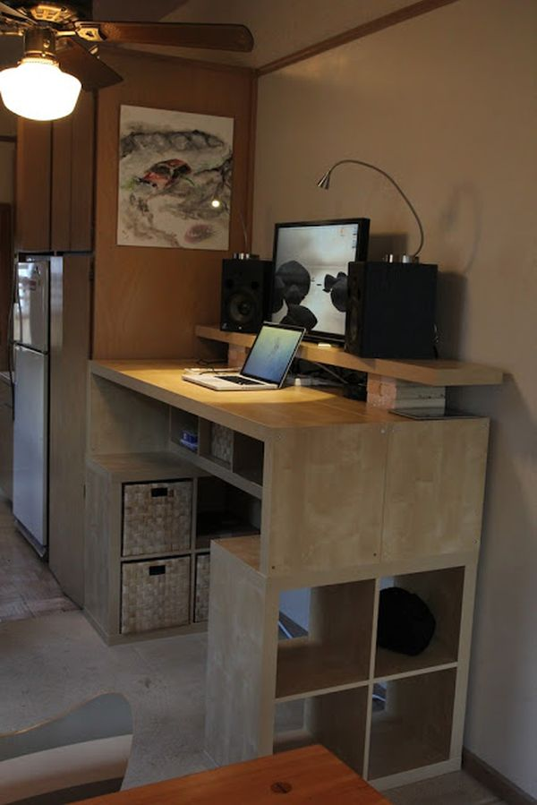 Huge Ceiling Fan Clic Pendant Lamp Double Wood Platforms Standing Desk With Cabinetry Computer Set