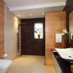 Interesting Bathroom Design With Eclectic Brown Wall And Soft Wooden Cream Cabinet With White Bidet In Concrete Flooring Concept