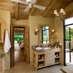 Interesting Bathroom Idea With Rustic Style Also Elegant Chandelier Design With Wooden Cabinet And Ravishing Small Kitchen Diea In Laminate Flooring