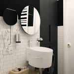 interesting black and white bathroom wth ravishing vanities also interesting white brick walling with floating wooden towel