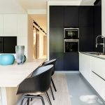 interesting black and white kitchen for minimalist apartment with elegant dining set furniture also interesting undermount sink with gorgeous kitchen island in creamic flooring concept