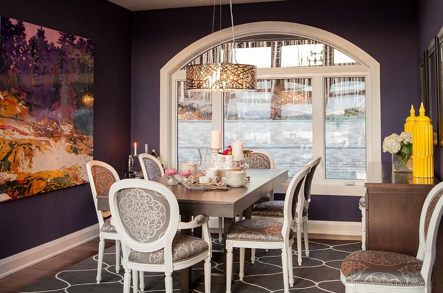 Interesting Dining Room Design With Dark Purple Wall Color Decoration Also  Elegant Brown Wooden Dining Sets