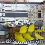 interesting dining room idea with bold lime color for the chairs also astonishing gray and white walling idea with animal print rug in concrete flooring